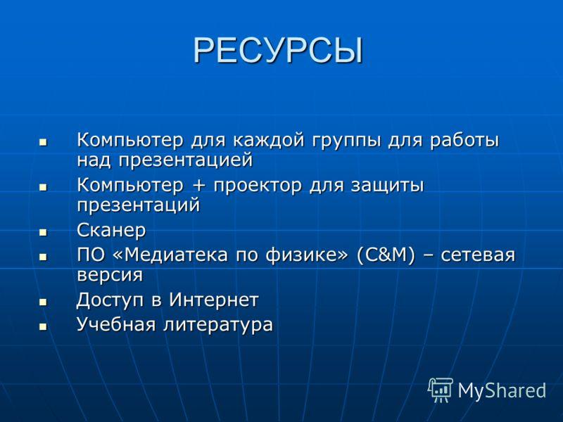 РЕСУРСЫ Компьютер для каждой группы для работы над презентацией Компьютер для каждой группы для работы над презентацией Компьютер + проектор для защиты презентаций Компьютер + проектор для защиты презентаций Сканер Сканер ПО «Медиатека по физике» (C&