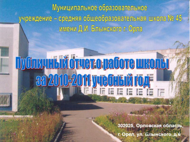 302025, Орловская область, г. Орел, ул. Блынского, д.6