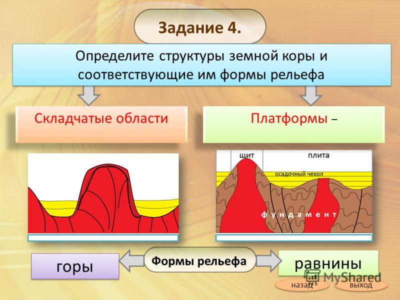 Задание 4. Определите структуры земной коры и соответствующие им формы рельефа ? ? ? ? Складчатые области Платформы – Платформы – равнины горы Формы рельефа выход назад