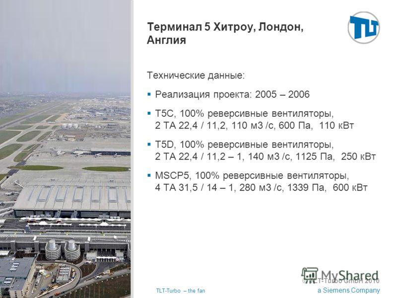 © TLT-Turbo GmbH 2010 a Siemens Company 02.11.2012TLT-Turbo – the fan Страница 31 Терминал 5 Хитроу, Лондон, Англия Технические данные: Реализация проекта: 2005 – 2006 T5C, 100% реверсивные вентиляторы, 2 TA 22,4 / 11,2, 110 м3 /с, 600 Па, 110 кВт T5