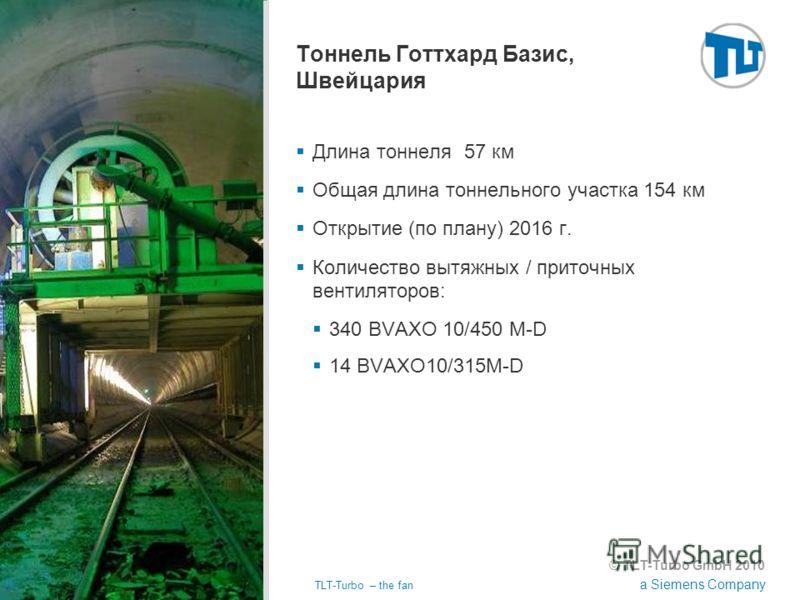 © TLT-Turbo GmbH 2010 a Siemens Company 02.11.2012TLT-Turbo – the fan Страница 34 Тоннель Готтхард Базис, Швейцария Длина тоннеля 57 км Общая длина тоннельного участка 154 км Открытие (по плану) 2016 г. Количество вытяжных / приточных вентиляторов: 3