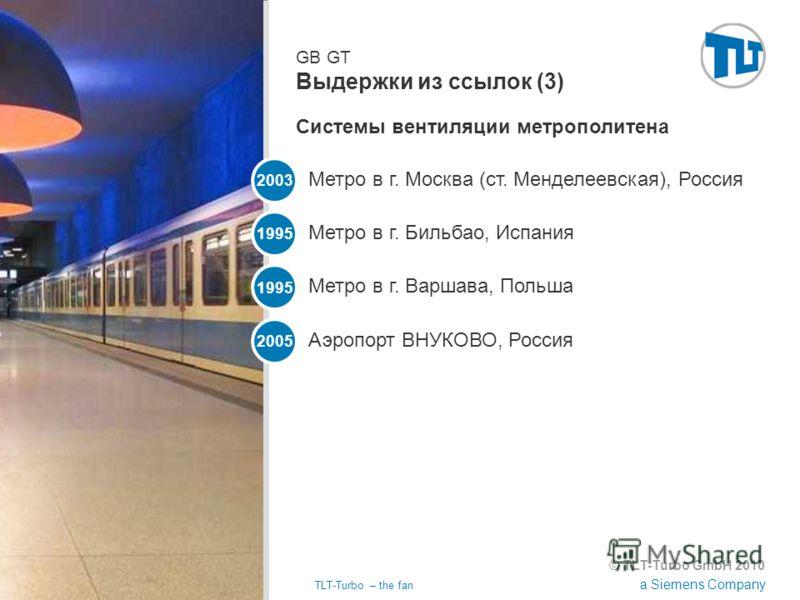 © TLT-Turbo GmbH 2010 a Siemens Company 02.11.2012TLT-Turbo – the fan Страница 40 GB GT Выдержки из ссылок (3) Метро в г. Москва (ст. Менделеевская), Россия 2003 Метро в г. Бильбао, Испания 1995 Метро в г. Варшава, Польша 1995 Аэропорт ВНУКОВО, Росси