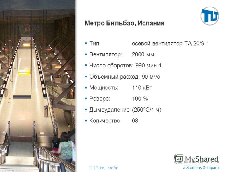 © TLT-Turbo GmbH 2010 a Siemens Company 02.11.2012TLT-Turbo – the fan Страница 42 Метро Бильбао, Испания Тип:осевой вентилятор TA 20/9-1 Вентилятор:2000 мм Число оборотов: 990 мин-1 Объемный расход: 90 м³/с Мощность:110 кВт Реверс:100 % Дымоудаление(