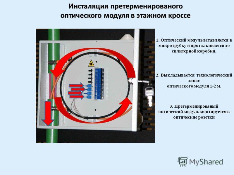 Подвал 1-й этаж 2-й этаж 3-й этаж 4-й этаж Этапы монтажа 5. Оптические модули свариваются с волокнами сплитера, обеспечивающего распределение оптической мощности 1:32 + 1:32 = 64 абонентских оптических волокна. 6. Сваривается кабель подходящий к спли