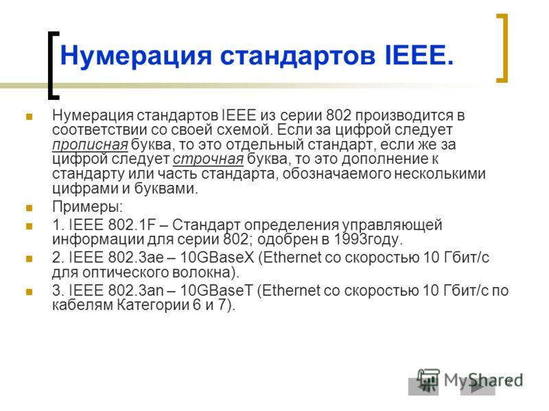 12 Нумерация стандартов IEEE. Нумерация стандартов IEEE из серии 802 производится в соответствии со своей схемой. Если за цифрой следует прописная буква, то это отдельный стандарт, если же за цифрой следует строчная буква, то это дополнение к стандар