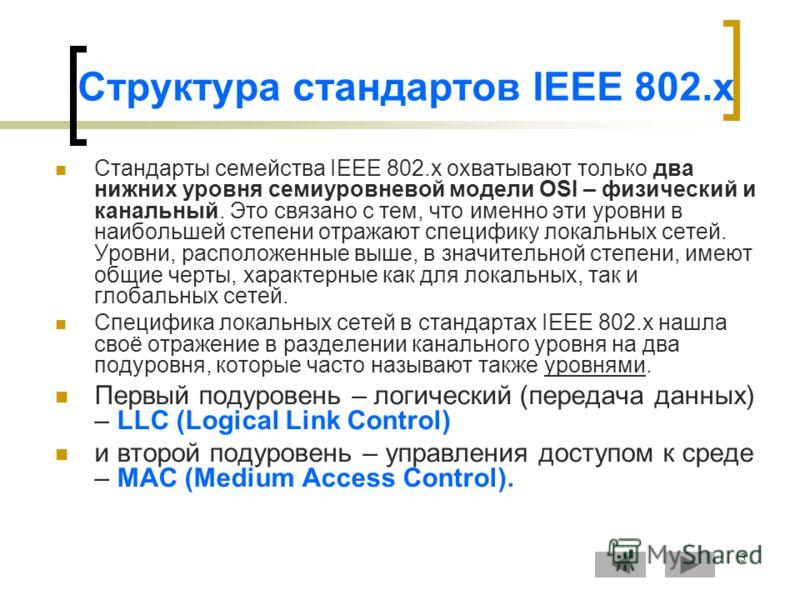 3 Структура стандартов IEEE 802.x Стандарты семейства IEEE 802.x охватывают только два нижних уровня семиуровневой модели OSI – физический и канальный. Это связано с тем, что именно эти уровни в наибольшей степени отражают специфику локальных сетей.