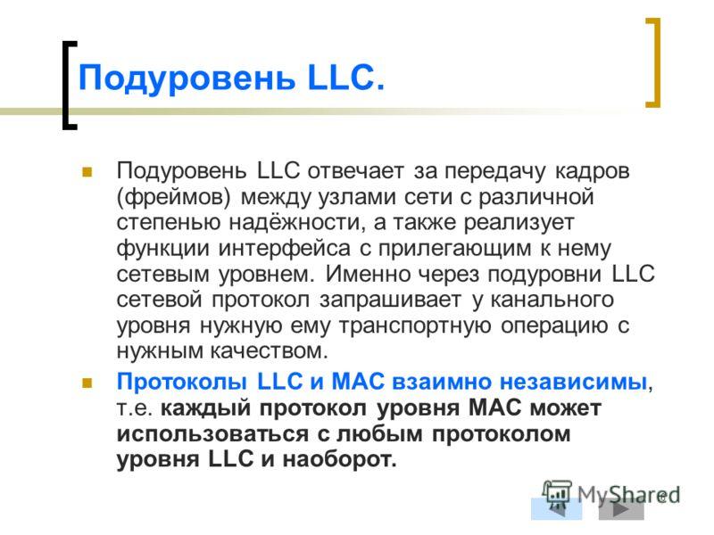 6 Подуровень LLC. Подуровень LLC отвечает за передачу кадров (фреймов) между узлами сети с различной степенью надёжности, а также реализует функции интерфейса с прилегающим к нему сетевым уровнем. Именно через подуровни LLC сетевой протокол запрашива