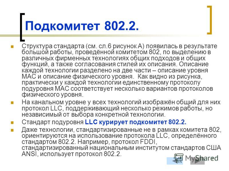 7 Подкомитет 802.2. Структура стандарта (см. сл.6 рисунок А) появилась в результате большой работы, проведённой комитетом 802, по выделению в различных фирменных технологиях общих подходов и общих функций, а также согласования стилей их описания. Опи