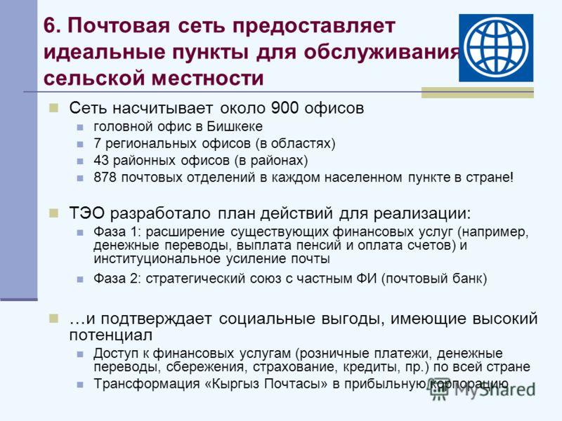 6. Почтовая сеть предоставляет идеальные пункты для обслуживания сельской местности Сеть насчитывает около 900 офисов головной офис в Бишкеке 7 региональных офисов (в областях) 43 районных офисов (в районах) 878 почтовых отделений в каждом населенном