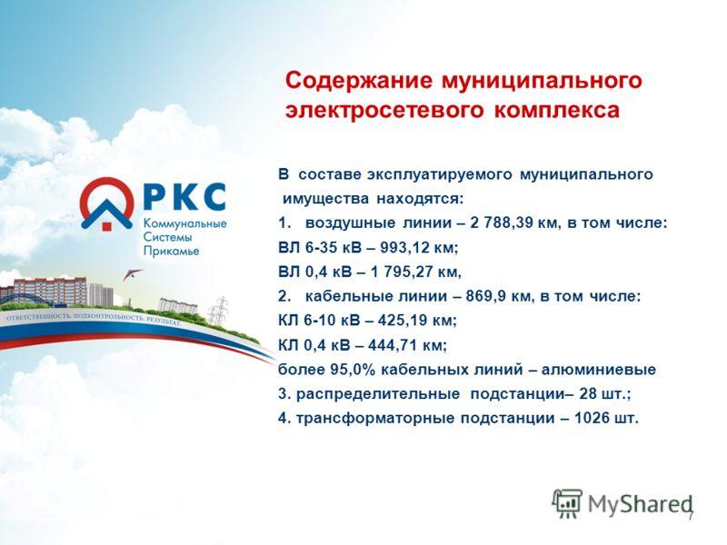 Содержание муниципального электросетевого комплекса В составе эксплуатируемого муниципального имущества находятся: 1. воздушные линии – 2 788,39 км, в том числе: ВЛ 6-35 кВ – 993,12 км; ВЛ 0,4 кВ – 1 795,27 км, 2. кабельные линии – 869,9 км, в том чи
