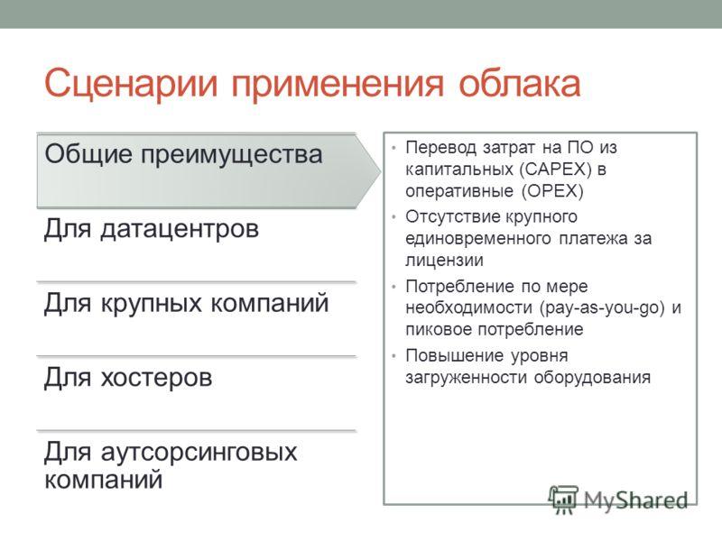 Сценарии применения облака Общие преимущества Для датацентров Для крупных компаний Для хостеров Для аутсорсинговых компаний Перевод затрат на ПО из капитальных (CAPEX) в оперативные (OPEX) Отсутствие крупного единовременного платежа за лицензии Потре