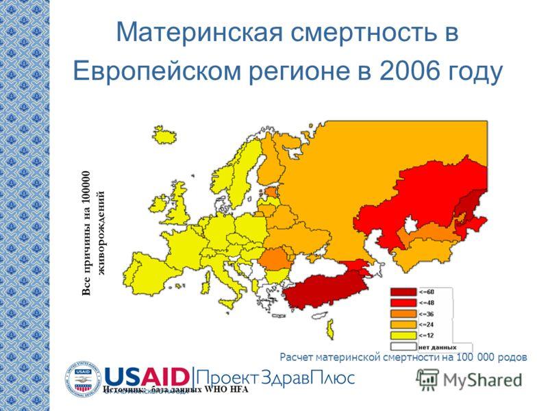 Все причины на 100000 живорождений Источник: база данных WHO HFA Материнская смертность в Европейском регионе в 2006 году Расчет материнской смертности на 100 000 родов