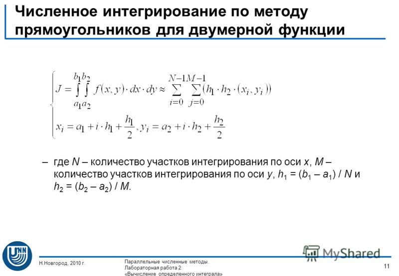 Численное интегрирование по методу прямоугольников для двумерной функции –где N – количество участков интегрирования по оси x, M – количество участков интегрирования по оси y, h 1 = (b 1 – a 1 ) / N и h 2 = (b 2 – a 2 ) / M. Н.Новгород, 2010 г. Парал