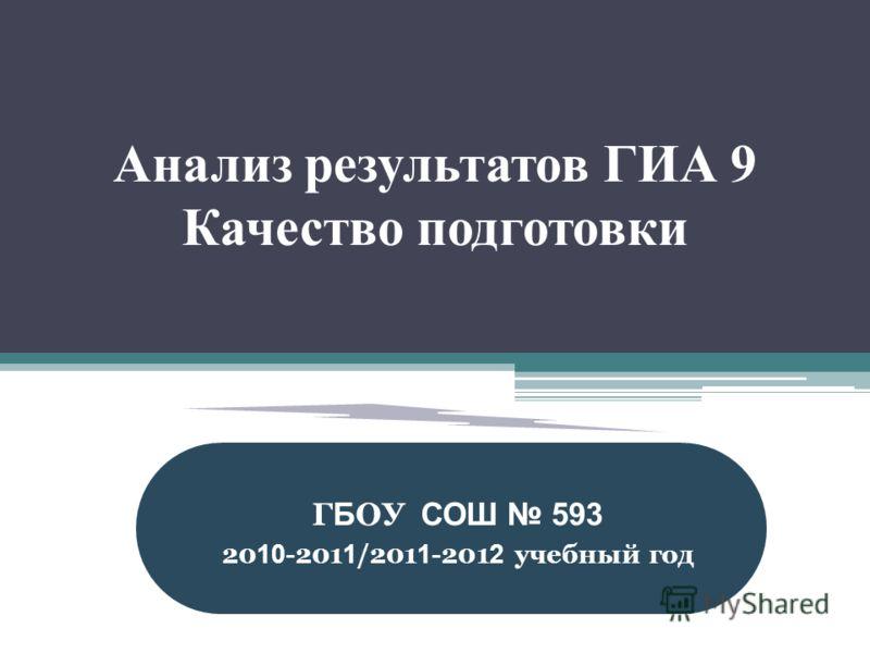 Анализ результатов ГИА 9 Качество подготовки Г Б ОУ СОШ 593 20 10 -201 1 /201 1 -201 2 учебный год