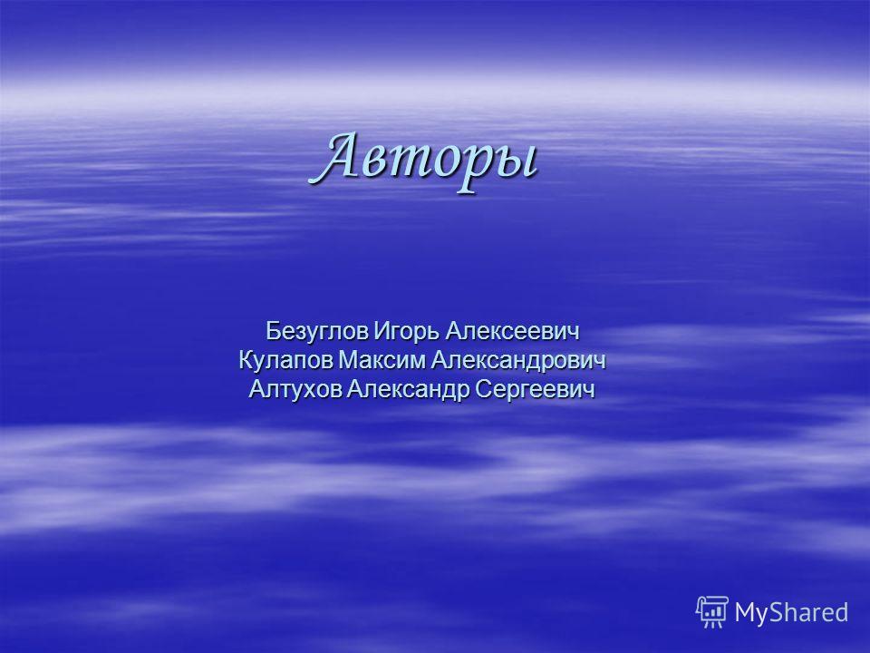 Авторы Безуглов Игорь Алексеевич Кулапов Максим Александрович Алтухов Александр Сергеевич