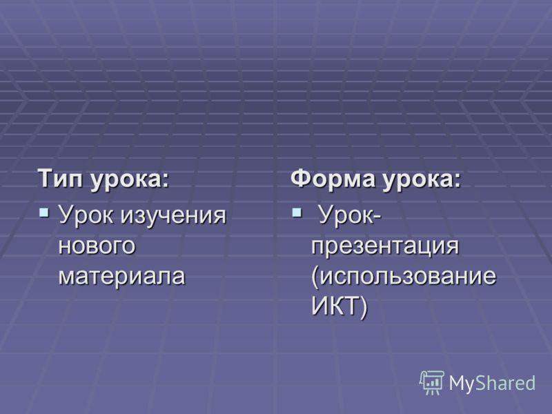 Тип урока: Урок изучения нового материала Урок изучения нового материала Форма урока: Урок- презентация (использование ИКТ) Урок- презентация (использование ИКТ)