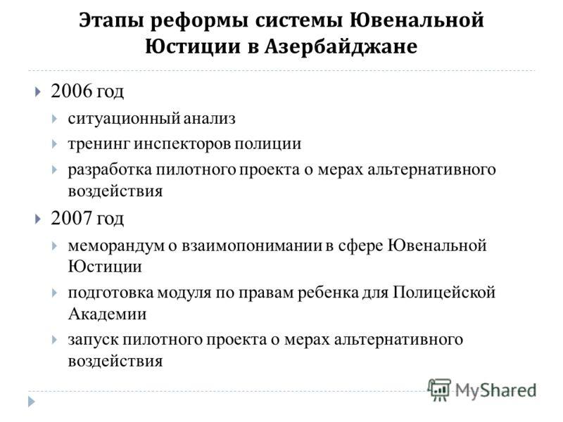 Этапы реформы системы Ювенальной Юстиции в Азербайджане 2006 год ситуационный анализ тренинг инспекторов полиции разработка пилотного проекта о мерах альтернативного воздействия 2007 год меморандум о взаимопонимании в сфере Ювенальной Юстиции подгото