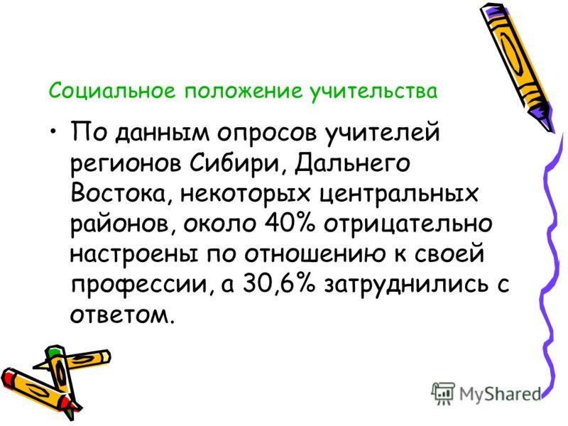 Социальное положение учительства По данным опросов учителей регионов Сибири, Дальнего Востока, некоторых центральных районов, около 40% отрицательно настроены по отношению к своей профессии, а 30,6% затруднились с ответом.