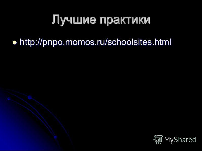 Лучшие практики http://pnpo.momos.ru/schoolsites.html http://pnpo.momos.ru/schoolsites.html