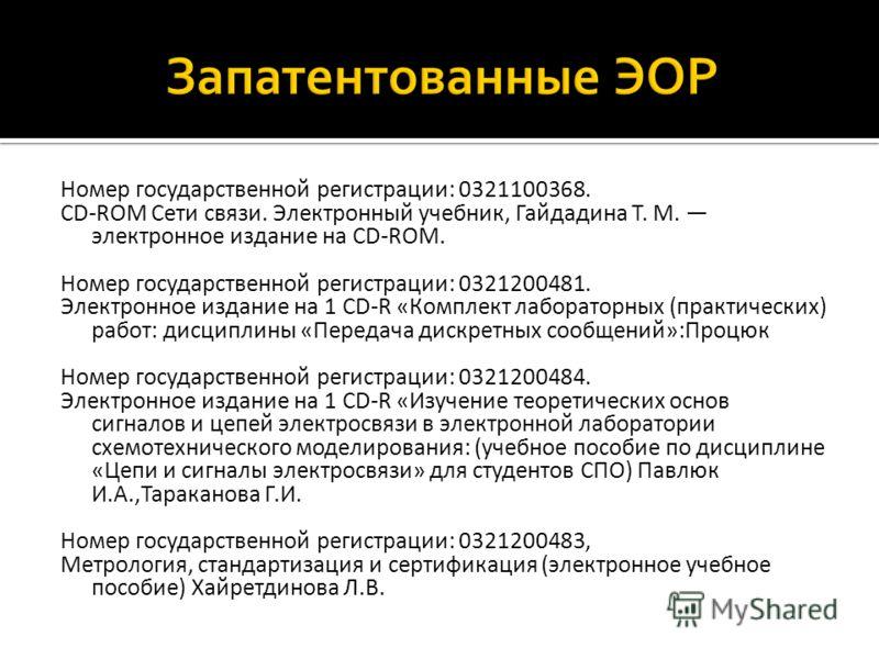 Номер государственной регистрации: 0321100368. CD-ROM Сети связи. Электронный учебник, Гайдадина Т. М. электронное издание на CD-ROM. Номер государственной регистрации: 0321200481. Электронное издание на 1 CD-R «Комплект лабораторных (практических) р