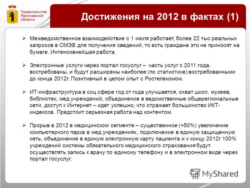 Достижения на 2012 в фактах (1) Межведомственное взаимодействие с 1 июля работает, более 22 тыс реальных запросов в СМЭВ для получения сведений, то есть граждане это не приносят на бумаге. Интенсивнейшая работа. Электронные услуги через портал госусл