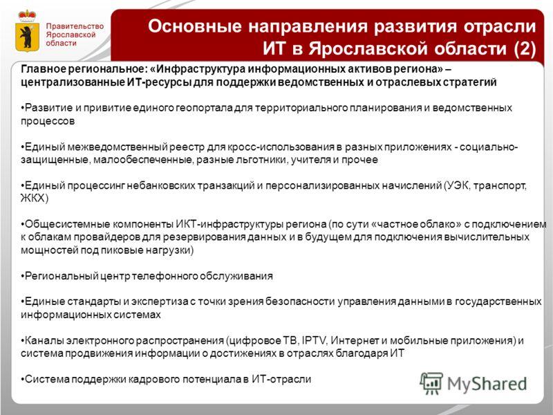 Основные направления развития отрасли ИТ в Ярославской области (2) Главное региональное: «Инфраструктура информационных активов региона» – централизованные ИТ-ресурсы для поддержки ведомственных и отраслевых стратегий Развитие и привитие единого геоп