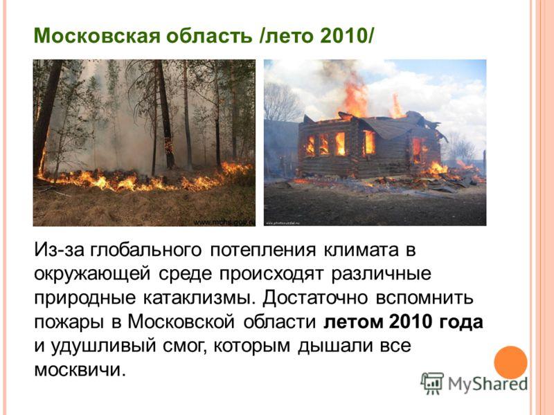 Московская область /лето 2010/ Из-за глобального потепления климата в окружающей среде происходят различные природные катаклизмы. Достаточно вспомнить пожары в Московской области летом 2010 года и удушливый смог, которым дышали все москвичи.