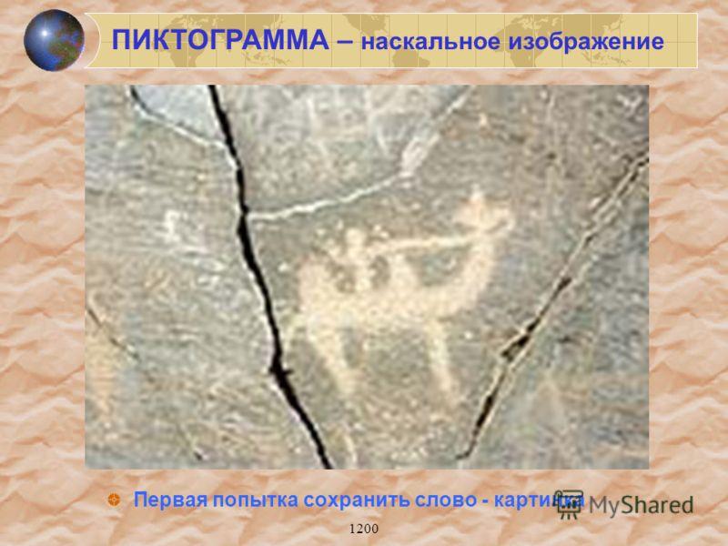 1200 Первая попытка сохранить слово - картинка ПИКТОГРАММА – наскальное изображение