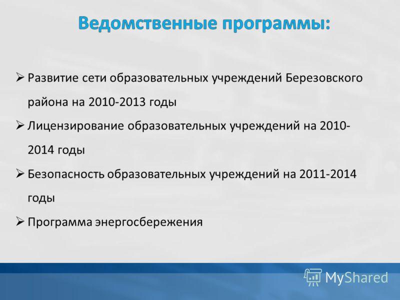 Развитие сети образовательных учреждений Березовского района на 2010-2013 годы Лицензирование образовательных учреждений на 2010- 2014 годы Безопасность образовательных учреждений на 2011-2014 годы Программа энергосбережения