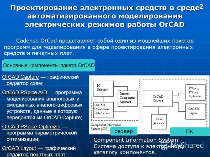 2 Проектирование электронных средств в среде автоматизированного моделирования электрических режимов работы OrCAD Cadense OrCad представляет собой один из мощнейших пакетов программ для моделирования в сфере проектирования электронных средств и печат
