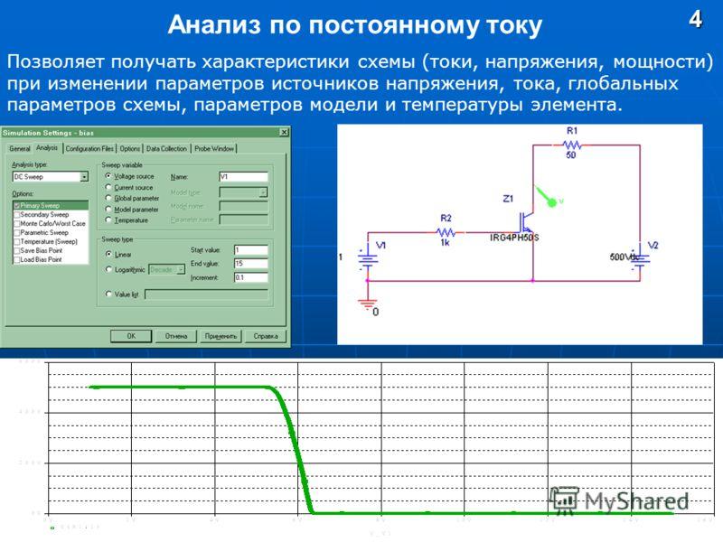 Анализ по постоянному току4 Позволяет получать характеристики схемы (токи, напряжения, мощности) при изменении параметров источников напряжения, тока, глобальных параметров схемы, параметров модели и температуры элемента.