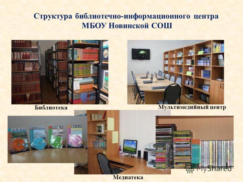 Структура библиотечно-информационного центра МБОУ Новинской СОШ Медиатека Библиотека Мультимедийный центр
