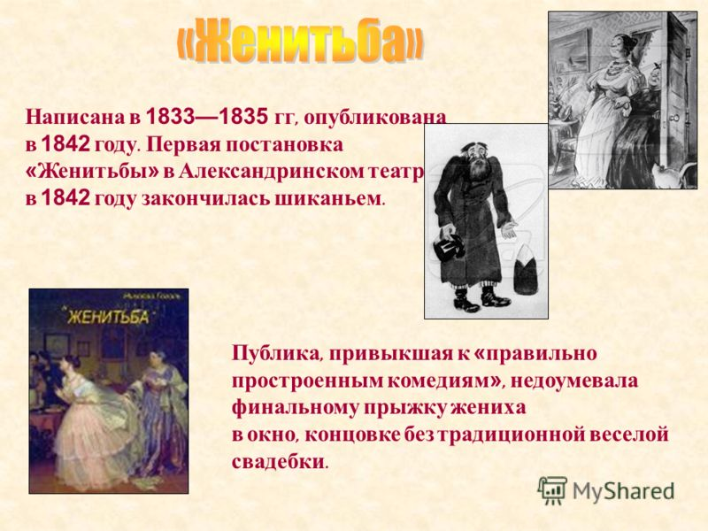 Написана в 18331835 гг, опубликована в 1842 году. Первая постановка «Женитьбы» в Александринском театре в 1842 году закончилась шиканьем. Публика, привыкшая к «правильно простроенным комедиям», недоумевала финальному прыжку жениха в окно, концовке бе