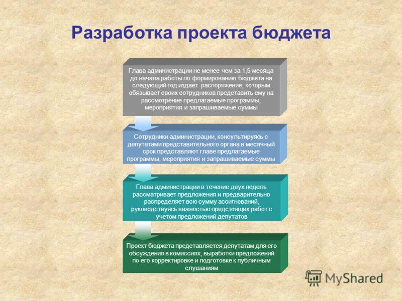 Разработка проекта бюджета Проект бюджета представляется депутатам для его обсуждения в комиссиях, выработки предложений по его корректировке и подготовке к публичным слушаниям Глава администрации в течение двух недель рассматривает предложения и пре