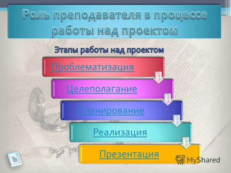 ПроблематизацияЦелеполаганиеПланированиеРеализацияПрезентация