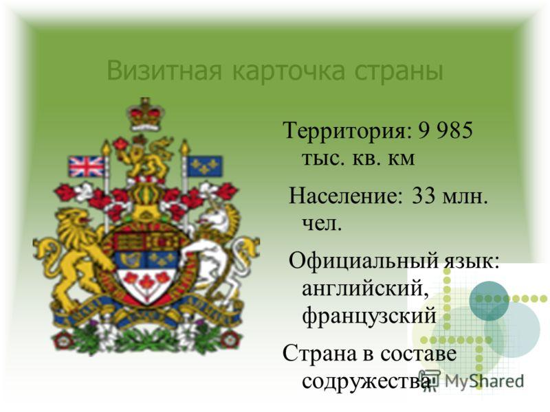 Визитная карточка страны Территория: 9 985 тыс. кв. км Население: 33 млн. чел. Официальный язык: английский, французский Страна в составе содружества