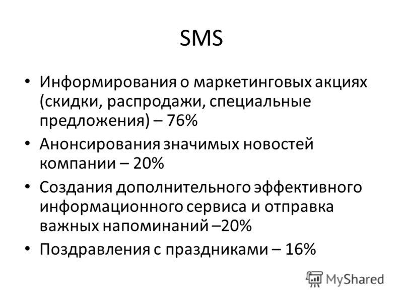SMS Информирования о маркетинговых акциях (скидки, распродажи, специальные предложения) – 76% Анонсирования значимых новостей компании – 20% Создания дополнительного эффективного информационного сервиса и отправка важных напоминаний –20% Поздравления