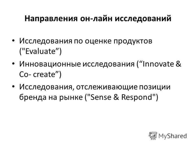 Направления он-лайн исследований Исследования по оценке продуктов (Evaluate) Инновационные исследования (Innovate & Co- create) Исследования, отслеживающие позиции бренда на рынке (Sense & Respond)