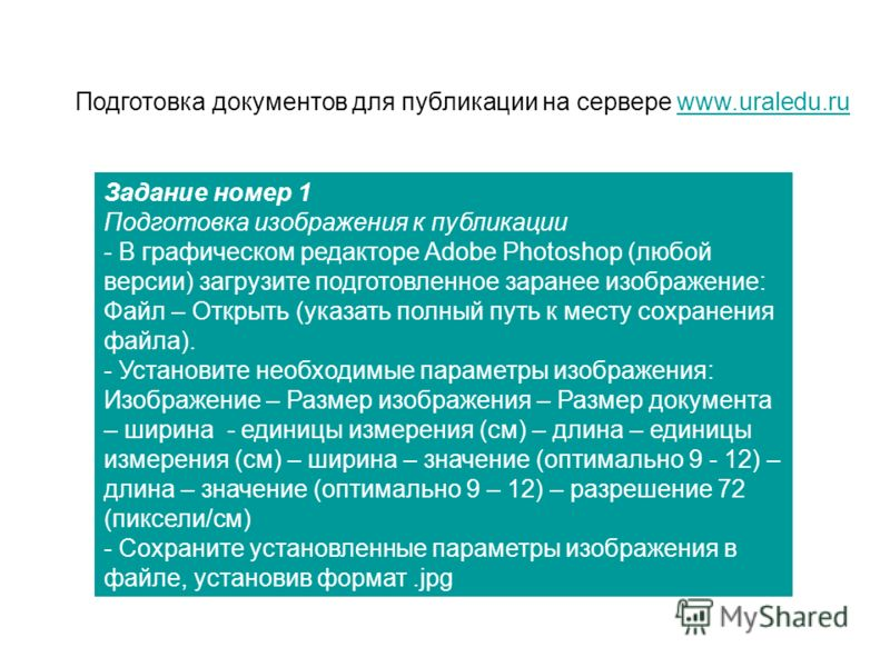Подготовка документов для публикации на сервере www.uraledu.ruwww.uraledu.ru Задание номер 1 Подготовка изображения к публикации - В графическом редакторе Adobe Photoshop (любой версии) загрузите подготовленное заранее изображение: Файл – Открыть (ук