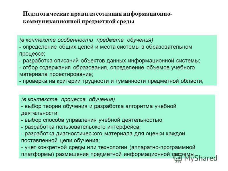 Педагогические правила создания информационно- коммуникационной предметной среды (в контексте особенности предмета обучения) - определение общих целей и места системы в образовательном процессе; - разработка описаний объектов данных информационной си