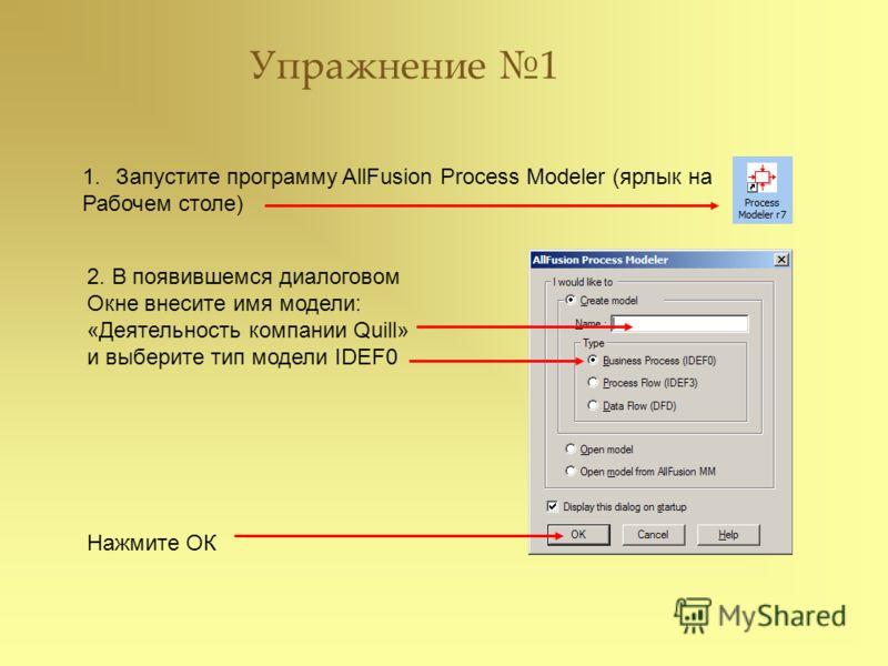 Упражнение 1 1.Запустите программу AllFusion Process Modeler (ярлык на Рабочем столе) 2. В появившемся диалоговом Окне внесите имя модели: «Деятельность компании Quill» и выберите тип модели IDEF0 Нажмите ОК