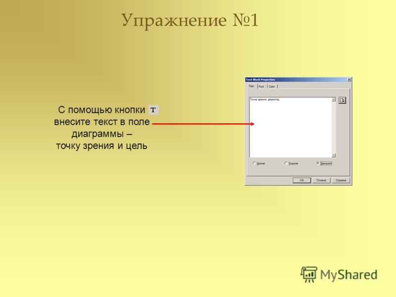 С помощью кнопки внесите текст в поле диаграммы – точку зрения и цель Упражнение 1