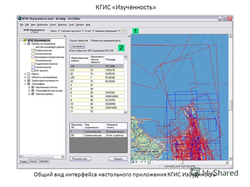 КГИС «Изученность» Общий вид интерфейса настольного приложения КГИС Изученность