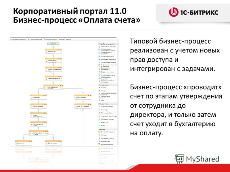 Корпоративный портал 11.0 Бизнес-процесс «Оплата счета» Типовой бизнес-процесс реализован с учетом новых прав доступа и интегрирован с задачами. Бизнес-процесс «проводит» счет по этапам утверждения от сотрудника до директора, и только затем счет уход