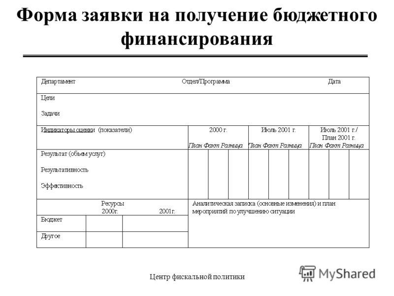 Центр фискальной политики Форма заявки на получение бюджетного финансирования