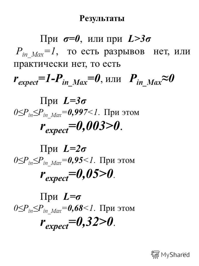 17 Результаты При σ=0, или при L>3σ P in_Max =1, то есть разрывов нет, или практически нет, то есть r expect =1-P in_Max =0, или P in_Max0 При L=3σ 0P inP in_Max =0,9970. При L=2σ 0P inP in_Max =0,950. При L=σ 0P inP in_Max =0,680.
