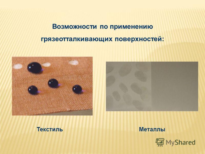Возможности по применению грязеотталкивающих поверхностей: МеталлыТекстиль