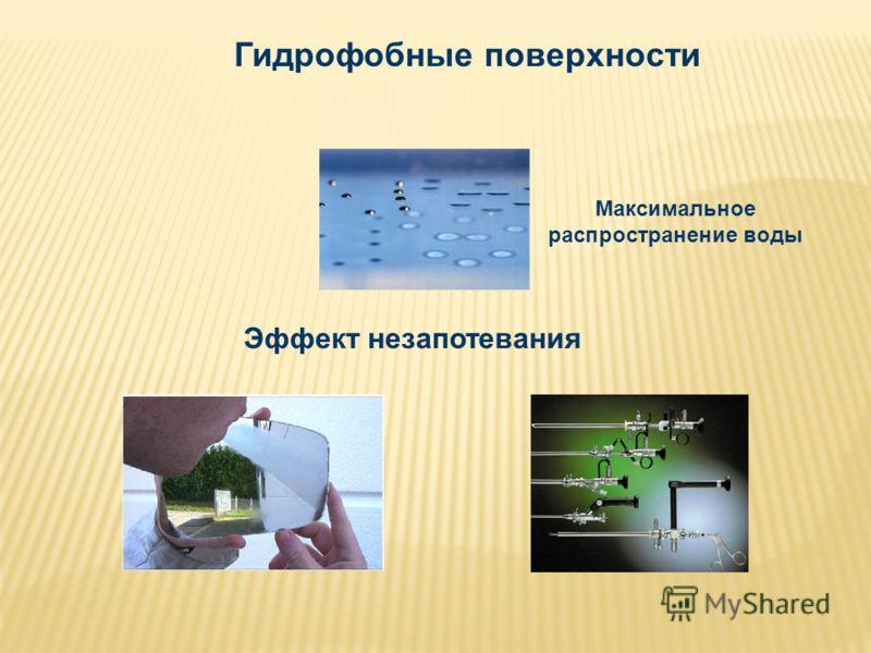 Гидрофобные поверхности Эффект незапотевания Максимальное распространение воды