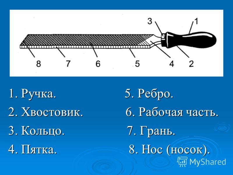 1. Ручка. 5. Ребро. 2. Хвостовик. 6. Рабочая часть. 3. Кольцо. 7. Грань. 4. Пятка. 8. Нос (носок).
