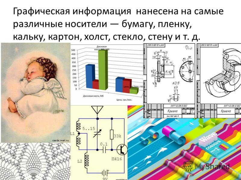 Графическая информация нанесена на самые различные носители бумагу, пленку, кальку, картон, холст, стекло, стену и т. д.